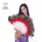 舞姿翼 肚皮舞扇子 舞蹈道具 表演扇子 孔雀羽毛扇子DJ1017-1(加盟分销)