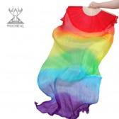 舞姿翼 肚皮舞舞蹈表演道具100%真丝扇子 超长180厘米 彩虹渐变(加盟分销)
