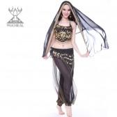 舞姿翼 新款套装 印度舞服 演出服4件套 上衣裤子腰链纱巾 1566-1(市桥天猫)