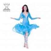舞姿翼 服装氨纶肚皮舞演出服套装 新款网布钻石麻肚皮舞服装2150(市桥天猫)