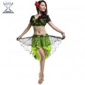 舞姿翼肚皮舞套装 玫瑰花弹力蕾丝表演服两件套套装 QC2207(七月新款)