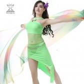 9月新款舞姿翼肚皮舞套装新款肚皮舞 服装练习套装牛奶丝+小菊花蕾丝QC2221