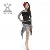 9月新款舞姿翼肚皮舞套装新款肚皮舞 服装练习套装 牛奶丝+印花布QC2228