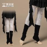 舞姿翼 肚皮舞裤子新款 莫代尔拼接高弹蕾丝九分单裤 DK001