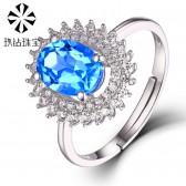 玖钻珠宝925银镶天然托帕石戒指彩宝戒指珠宝宝石彩色宝石饰品HYR15064099