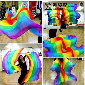 舞姿翼 肚皮舞表演道具真丝扇子 超长180厘米 竖纹 彩虹渐变(加盟分销)