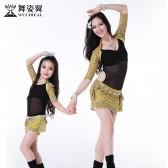 舞姿翼肚皮舞练功服2016新款夏装亲子装儿童练习服成人舞蹈演出服qc2538/rt058