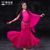 舞姿翼 儿童练功服连衣裙秋冬新款蕾丝印度舞蹈演出服套装RT106