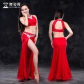 舞姿翼 肚皮舞服装2017新款夏 东方舞练习服舞蹈服套装石英款QC2707