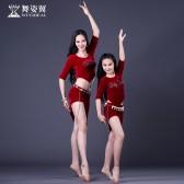 舞姿翼肚皮舞套装东方舞蹈服装2018新款练功服斜边裙亲子练习服套装QC2839/RT200
