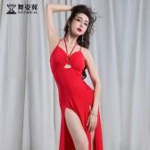 舞姿翼肚皮舞练功服2018新款性感夏舞蹈套装吊带连衣长裙练习服QC2953