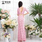 舞姿翼2018年秋冬新款肚皮舞练功服装蕾丝长裙名师小薇QC2991