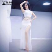 舞姿翼肚皮舞练功服装女2019春装新款修身高开叉长裙QC2753-3