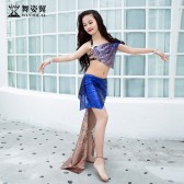 舞姿翼儿童表演出服装2019新款夏高档珠片短裙东方舞蹈套装RT361