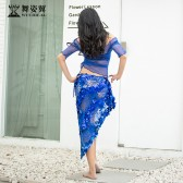 舞姿翼肚皮舞表演出服套装女2019新款夏单边抽绳长裙QC3061