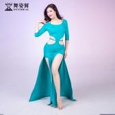 舞姿翼肚皮舞练习服女2019新款夏性感东方舞双开叉长裙QC3081