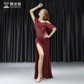 舞姿翼肚皮舞练功服女2019新款夏初学者一字领荷叶边韩国织银网套装QC3060