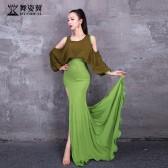 舞姿翼成人肚皮舞单开叉莫代尔长裙练功服套装2020新款套装QC3190