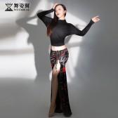 舞姿翼成人肚皮舞单开叉丝绒长裙练功服套装2020新款套装QC3191