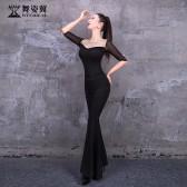 舞姿翼修身形体衣礼仪服2020新款训练走秀肚皮舞丝绒练功服舞蹈套装XT616