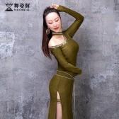 舞姿翼成人肚皮舞单开叉闪光布长裙练功服套装2020新款套装QC3193
